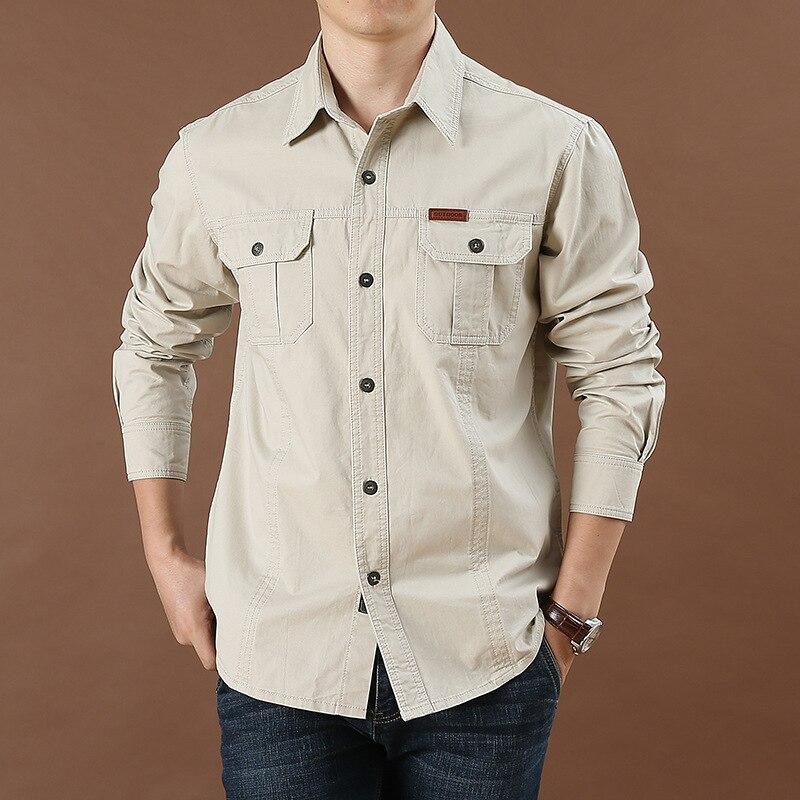 2020 Spring Autumn Denim Men Shirts Long Sleeve 100% Cotton Camiseta Masculina Army Military Casual Size S-4XL 5XL 6XL