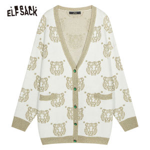 Image 5 - ELF SACK V Neck Tiger Print Button Front Casual Cardigan Sweater Women Clothes 2019 Autumn Korean Style Female Sweaters