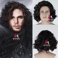 Hot movie Game of Thrones Cosplay Costume Accessories Wig Jon Snow Men Black Curly Short Synthetic Hair Adult +wig cap