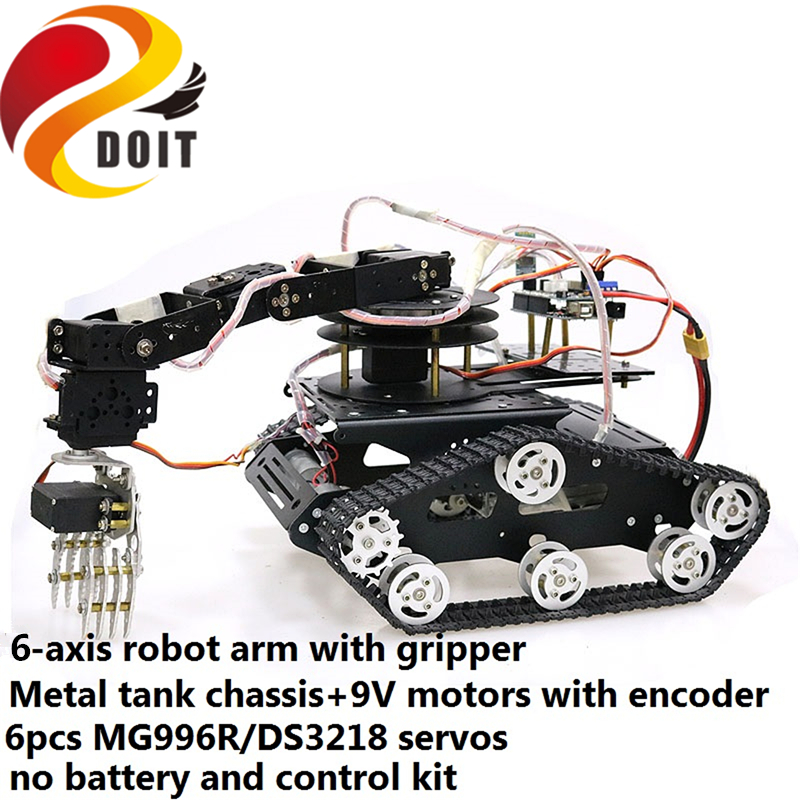 SZDOIT Full Metal 6-axis Robot Arm with Gripper + Y100 Smart Tank Chassis Kit 6DOF Vehicle Robotic with 6pcs Servos for Arduino