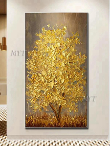 Image 4 - Unframed Hand Painted Knife Gold Tree Oil Painting On Canvas Large Palette 3D Paintings For Living Room Modern Abstract Wall Art