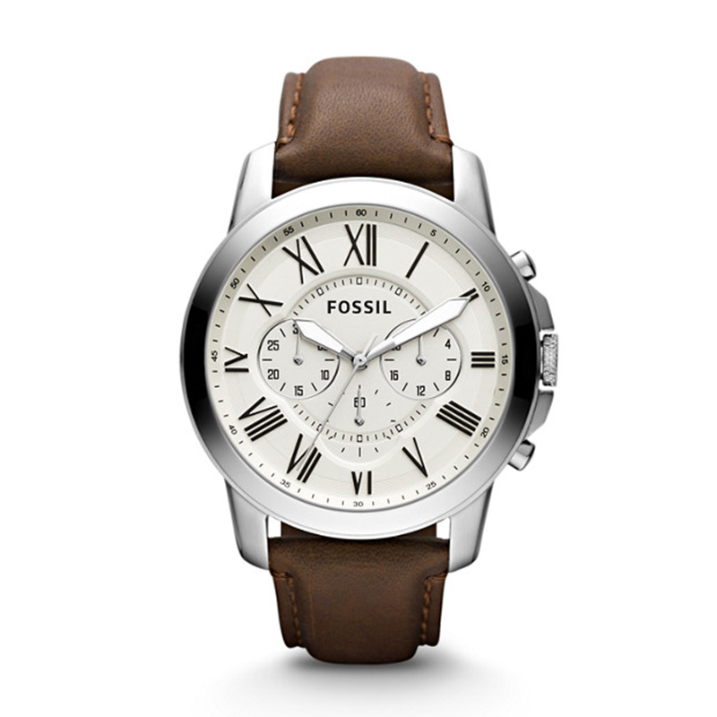Fossil Grant Chronograph Mens Watch White Dial Quartz Stainless Steel Watch Brown Leather Watch FS4735