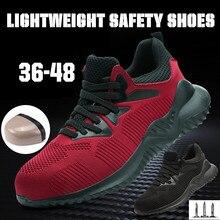 Erkekler iş çizmeleri güvenlik ayakkabıları kadın ile çelik burun yıkılmaz örgü ayakkabı ayakkabıları hafif nefes açık ayakkabı