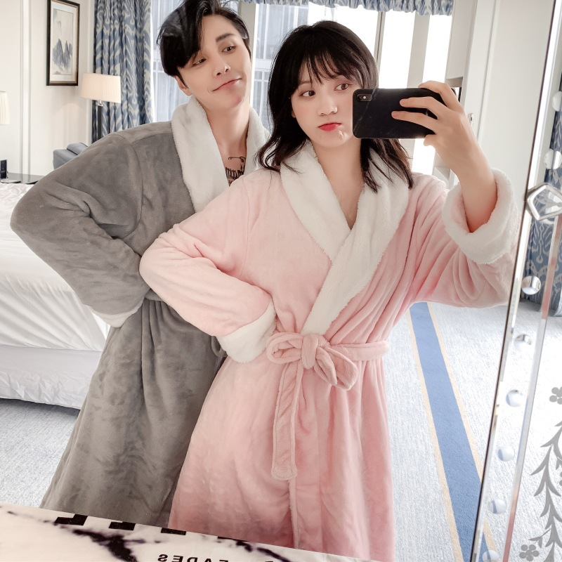 Autumn and winter increase long pajamas women thick flannel couple pajamas coral velvet wedding dressing gown men's home service