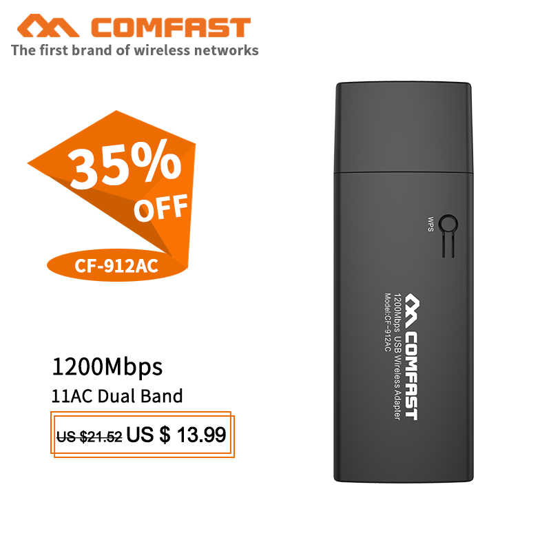 COMFAST CF-912AC 1200Mbps USB 3.0 Wifi adaptörü 2.4G 5Ghz Wifi Lan USB Ethernet ağ kartı Wifi güvenlik cihazı uzun menzilli wifi alıcısı