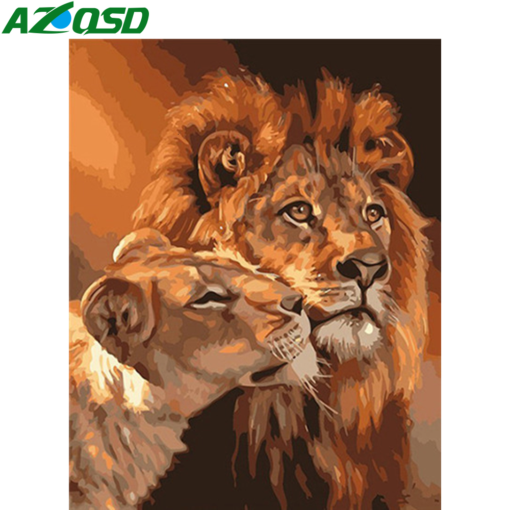 AZQSD Paint By Numbers Kit For Adults Lion 40X50cm No Frame Needlework Diy Oil Painting By Numbers Animal Decor For Home