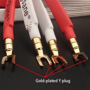 Image 4 - Xangsane fever grade OCC posrebrzany kabel głośnikowy hifi micro space audio kabel wtyczka bananowa Y wtyczka wtyczka bananowa bananowa Y Y