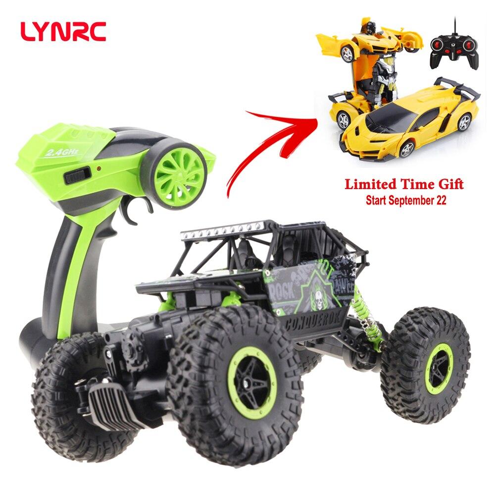 Venda Final!!! Lynrc 4WD 2.4GHz Carro escalada Carro RC 4x4 Motores Dobro Bigfoot Carro de Controle Remoto Modelo Off- brinquedo Do Veículo de estrada