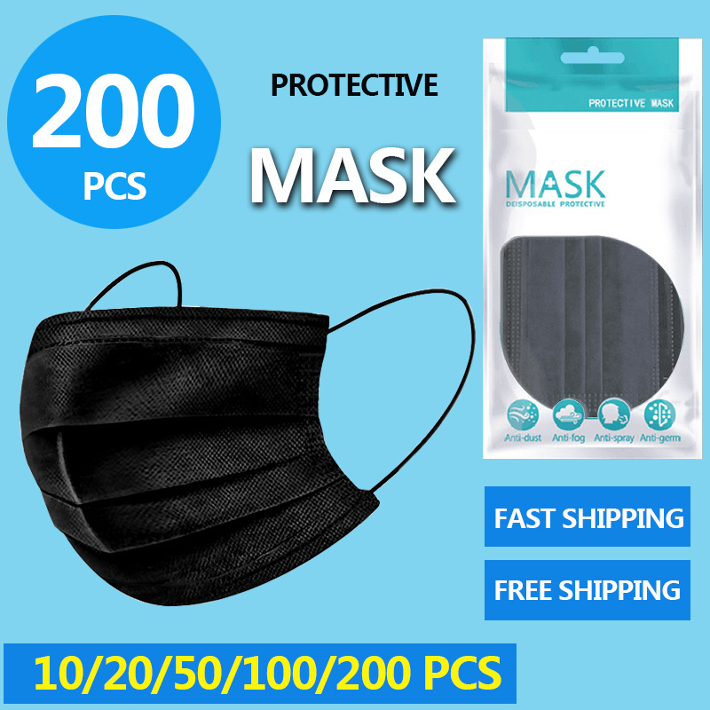 3 Laye Black Mask Dust Protection Masks Disposable Face Masks Elastic Ear Loop Disposable Dust Filter Safety Mask Anti-Dust