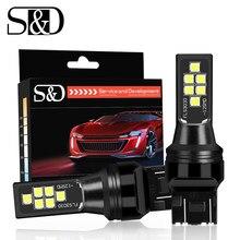 Uds T20 LED 7443 SRCK w21/5w bombillas LED 12 SMD 3030 Chips coche freno de la cola de luces de marcha atrás de la lámpara Auto 12V blanco rojo amarillo