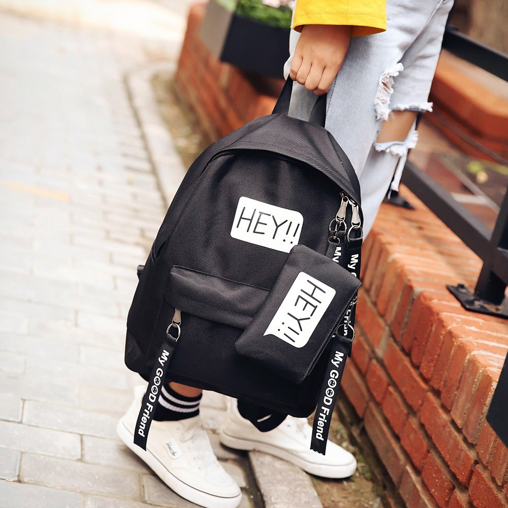 Letter Backpack Student-Bag College-Style Leisure Canvas Unisex TDHEY Outdoor Hot-Sales