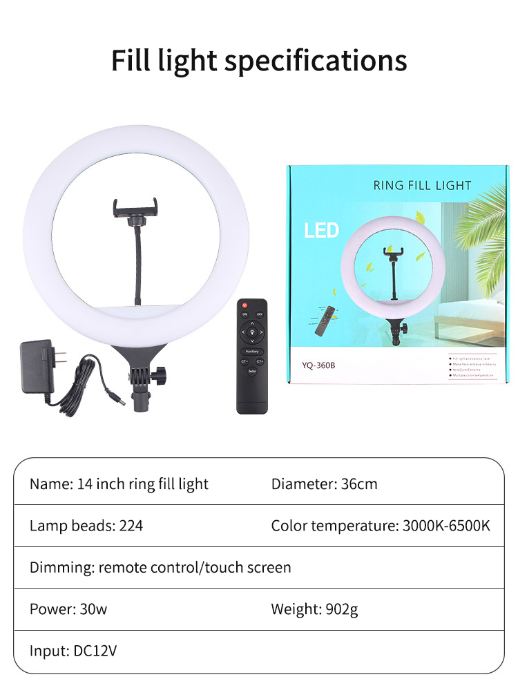 """H84eaa524c4cf4d588b6891b9a26598394 14"""" LED Ring Light Photographic Selfie Ring Lighting with Stand for Smartphone Youtube Makeup Video Studio Tripod Ring Light"""
