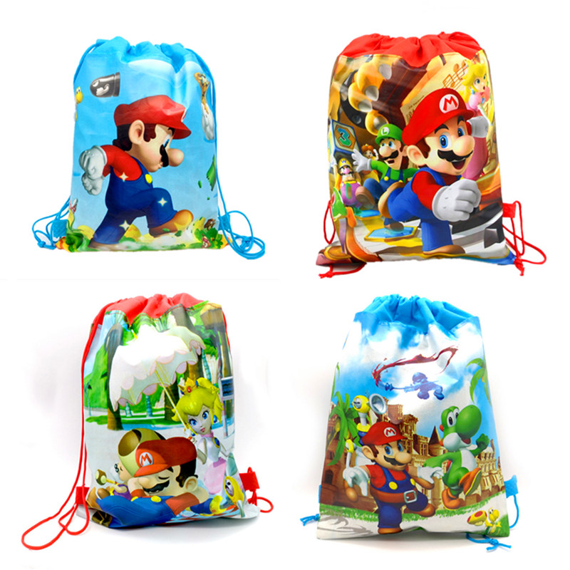 30pcs/lot Decorate Boys Favors Backpack Events Party Super Mario Theme Happy Birthday Drawstring Gifts Bags Baby Shower Mochila