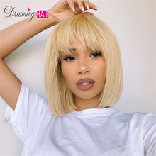 613 Short Cut 13X4 Bob Lace Front Human Hair Wig with Bangs Honey Blonde Color Transparent Lace Front Wigs For White Woman(China)