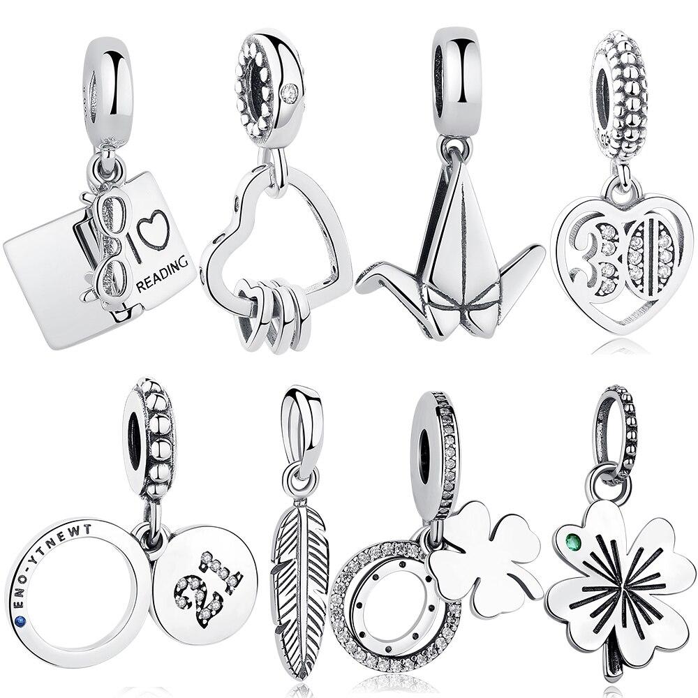 ELESHE Original 925 Sterling Silver Charms Fit Pandora Charm Bracelets Fashion Jewelry DIY I LOVE READING Book Charm Beads(China)