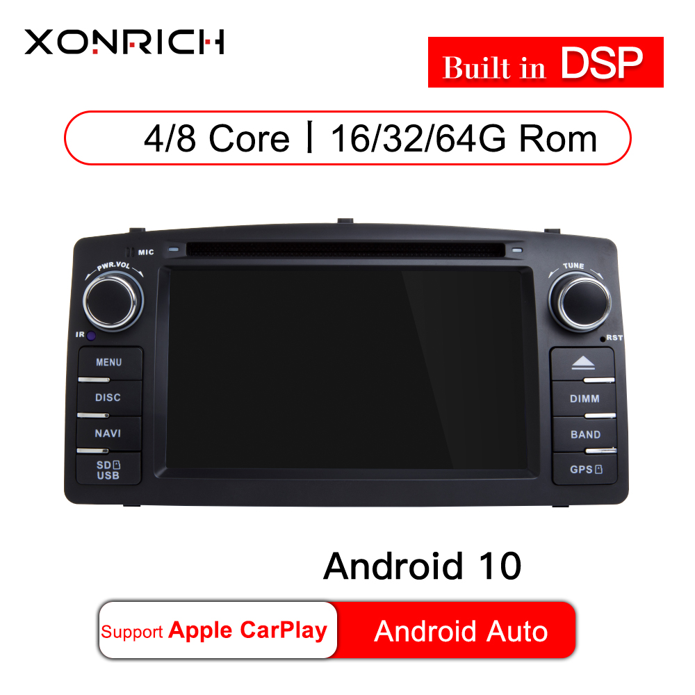2 din Android 10 4G 64G car dvd player For Toyota <font><b>Corolla</b></font> <font><b>E120</b></font> BYD F3 GPS radio multimedia stereo navigation 8 CORE WIFI DSP RDS image