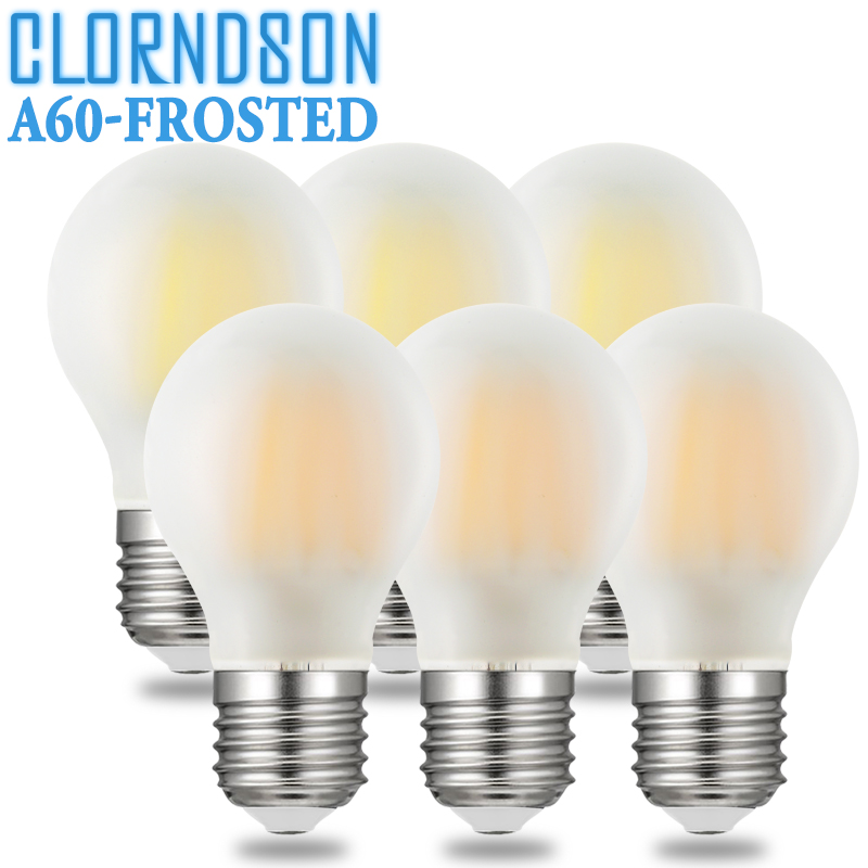 Dimmable Frosted A60 2W 4W 6W 8W Led E27 E26 Vintage Retro Lamp 110V 220V Filament Bulbs Lamp For Chandelier Lighting