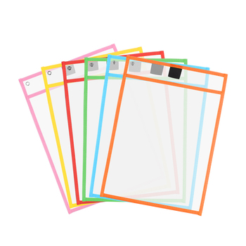 3PCS Reusable Dry Erasable Pockets Transparent Write And Wipe Drawing Board Dry Brush Bag File Pocket For Teaching Kids Pastels