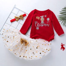 Baby Girls My First Christmas Romper 3pcs Clothing Set