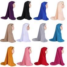 רגיל צעיף נשים מוסלמי חתיכה אחת עמירה חיג אב אסלאמי Hijabs ראש כיסוי לעטוף צעיף טורבן ניקאב רך מטפחת ערבי Khimar חדש