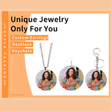 SOMESOOR Customized Necklace Keyholder Earrings Set Stainless Steel Chains Personalized Print Wood Pendant Women Dangle Jewelry