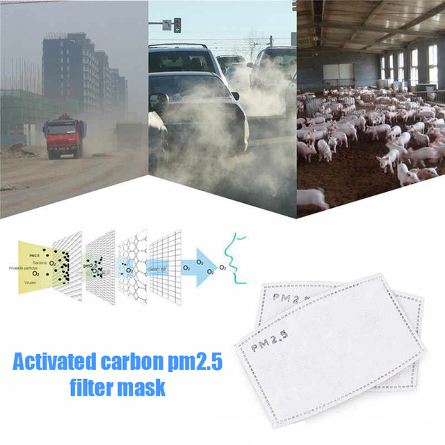 100pcs Mask Filters Anti-Dust mask Activated carbon filter Windproof Mouth-muffle bacteria proof Flu Face masks Care Reusable 1