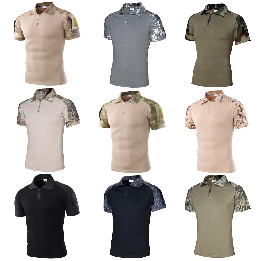 Outdoor Short Sleeve Polo Shirt ACU CP Desert Camouflage Tactical Military Uniform Absorb Sweat Hunting Men Combat Army Suit