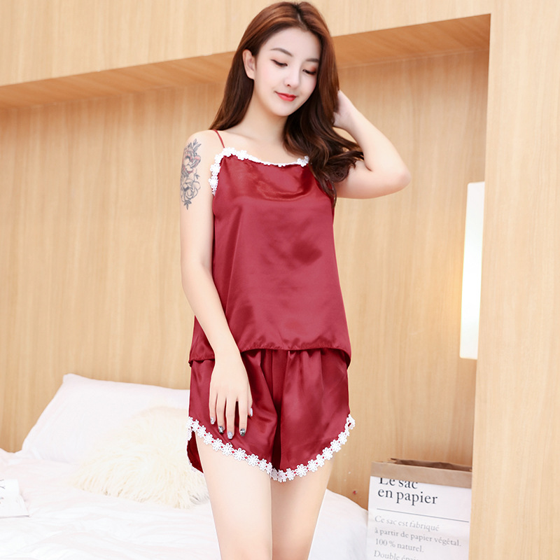 Pajamas Set Women Silk Satin Lace Crop Tops Female Floral Lingerie Halter Top Nightwear Shorts Sexy Ladies Sleepwear Plus Size