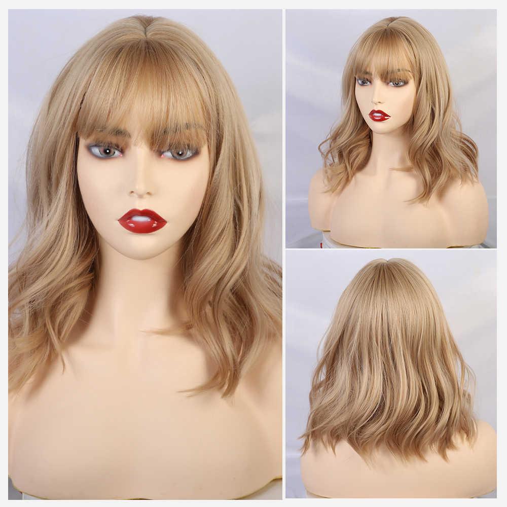 Blonde Einhorn Kurze Lockige BOB Perücken mit Pony Frauen Braun Schwarz Grau Natürliche Haar Perücken Weibliche Synthetische Wärme Beständig Faser