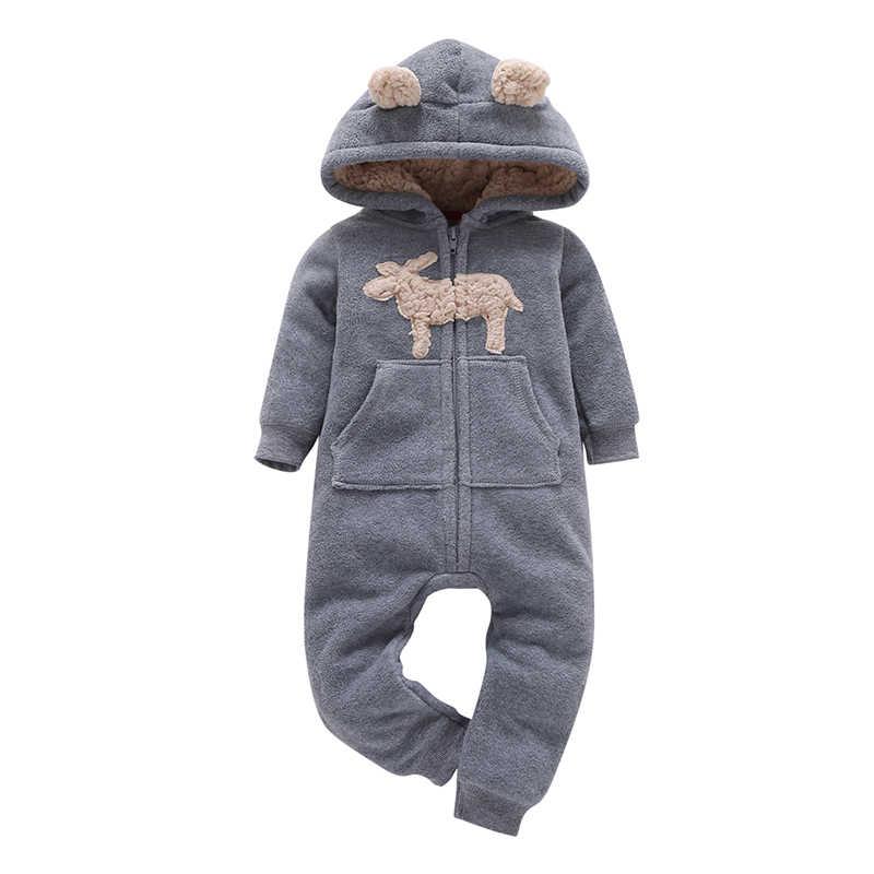 Zimowe ubrania dla dzieci chłopiec dziewczyna z długim rękawem kombinezon z kapturem unisex noworodki kostium noworodka onesie kombinezony zipper pajacyki 2020