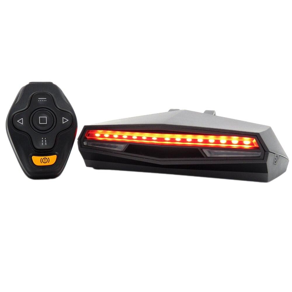 Luz da cauda da bicicleta recarregável controle remoto sinais de volta bicicleta ciclismo projetor segurança aviso lâmpada volta lanterna