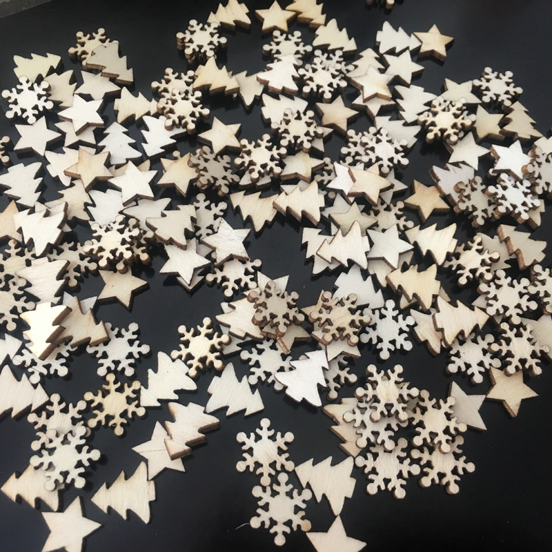 50PCs Wooden Christmas Tree Decorations Snowflakes Stars DIY Xmas Ornaments New Year Christmas Decorations For Home Navidad Noel