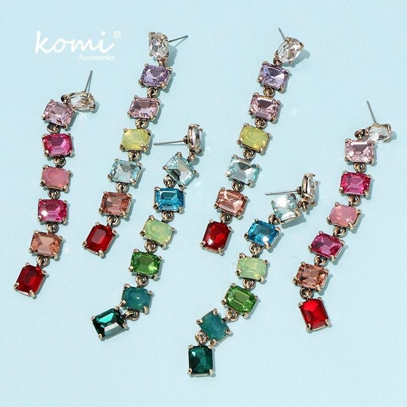 KOMi Boho Acrylic Colored Crystal Stone Dangle Earrings Green Pink Colored Tassel Cерьги женские Dating Holiday Girls K1507