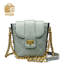Piler Famous Brand Ladies Bucket Bag Women Shoulder Bag Tote Small Crossbody Bags Handbag Diamond Lattice Chain Bag Candy Color famous brand solid crossbody bag chain genuine leather small bag ladies handbag single shoulder bag simple clip lock clutch bag