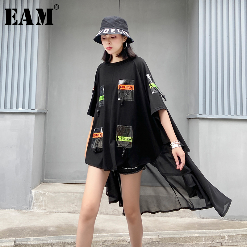 [EAM] Women Black Printed Pocket Chiffon Big Size Blouse New Half Sleeve Loose Fit Shirt Fashion Spring Summer 2020 1T574