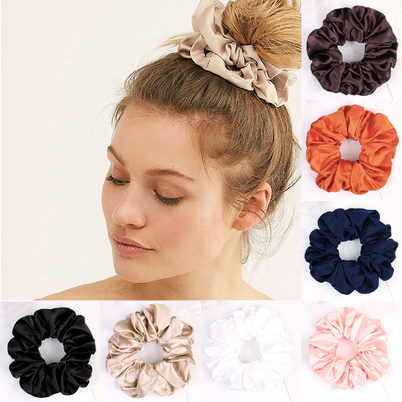 Black And White Solid Color Scrunchie Hairbands Hair Tie Hair Accessories Scrunchie Stretch Ponytail Holders Handmade Gifts