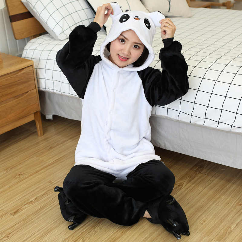 Kigurumi Panda Onesies Unisex Winter Stitch Unicorn Onesies Women Men Nightwear Anime Costumes Adults Flannel Sleepwear Pajamas