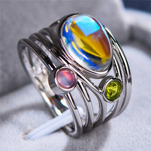 Boho Female Ladies Big Moonstone Ring Silver Rose Gold Color Wedding Bands Jewelry Promise Love Engagement Rings For Women(China)