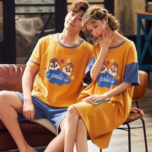 Image 2 - Nieuwe Zomer Cartoon Liefhebbers Leuke Pyjama Vrouwen Mannen Paar Korte Mouw Pyjama Sets Casual Kleding Nachtkleding Vrouwen Nachthemd