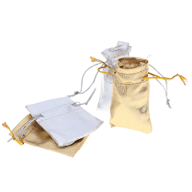 25Pcs 5*7cm,7x9cm,9x12cm Drawstring Gift Bags Packaging Jewelry Gift Bags  Gold And Silver Wholesale Small Gift Bags
