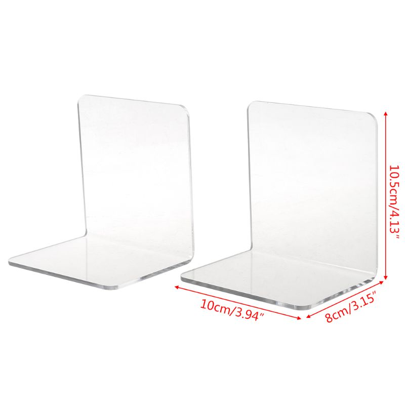 lipiny 2Pcs Clear Acrylic Bookends L-Shaped Desk Organizer Desktop Book Holder School Stationery Office Accessories bookends Decorative Book Holders