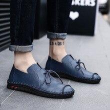 Осенне-зимняя новая стильная обувь из натуральных материалов простая модная удобная мужская обувь ручной работы Повседневная обувь Большие размеры 38-50