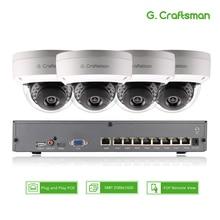 Smart 4ch 5MP Kit de sistema de cámara IP POE Domo H.265 seguridad 8ch POE NVR interior a prueba de violencia CCTV alarma Video P2P G. Craftsman