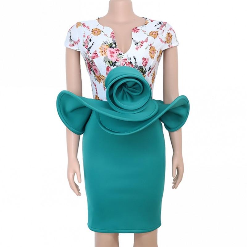 Африканские платья для женщин трехмерный цветок африканская одежда африканский дизайн Базен короткий рукав платье леди