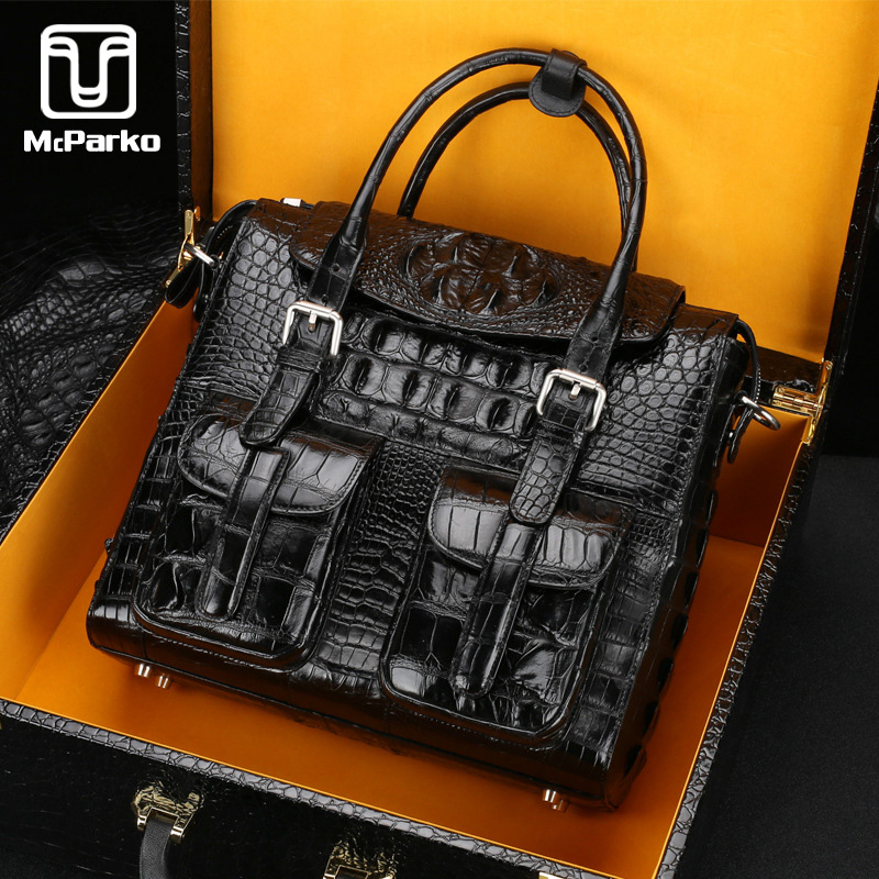 McParko Luxury Crocodile Briefcase Men Bag Genuine Leather Men Briefcase High-end Business Hand Bag Shoulder Bag Croco Briefcase