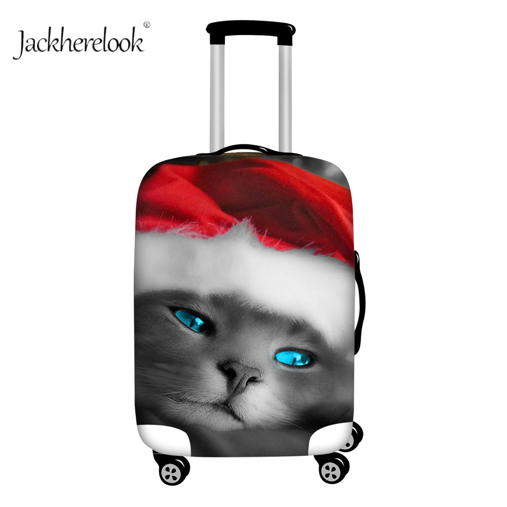 Jackherelook Cute Christmas Cat Print Luggage Cover Winter Christmas Party Style Baggage Cover Case Elastic Suitcase Protect Bag