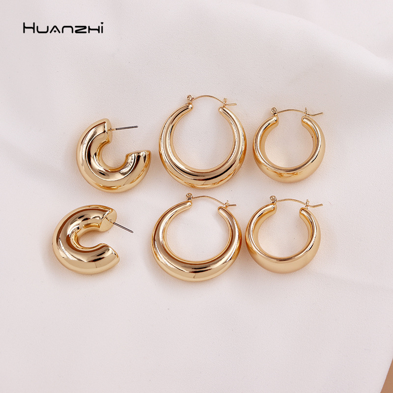 HUANZHI 2020 New Minimalist Gold Metal Large Circle Geometric Round C shape Hoop Earrings for Women Girls Jewelry GIfts