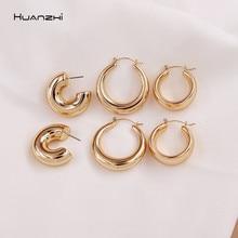 Huanzhi 2020 novo minimalista ouro metal grande círculo geométrico redondo c forma hoop brincos para mulheres meninas jóias presentes