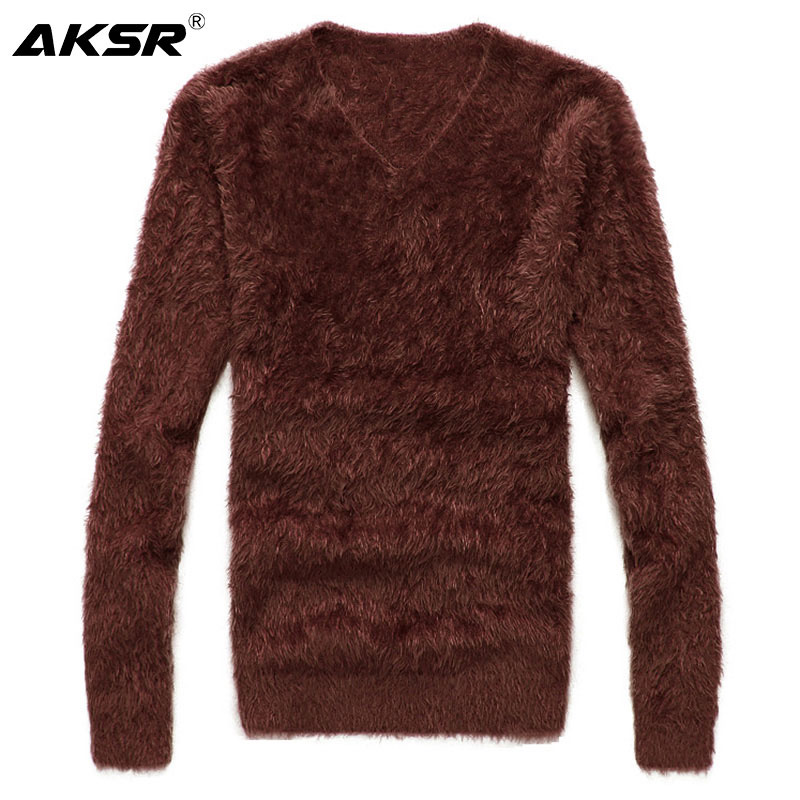 AKSR Men's Winter Sweater Warm Wool Knitted Pullover Sweater Jumper Men V Neck Mohair Cashmere Sweaters Sueter Hombre Pull Homme