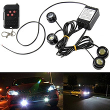 universal 12v wireless remote strobe control module for led stoplight drl flash controller flasher system car motorcycle diy 4in1 Car SUV Eagle Eye LED Strobe Warning Grille Light DRL One To Four Strobe Flash LED Car Lights 6000K 12W With Remote Control